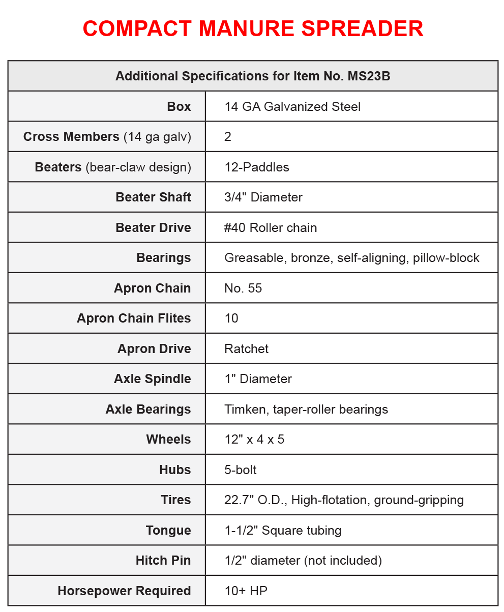 Compact Manure Spreader Specifications