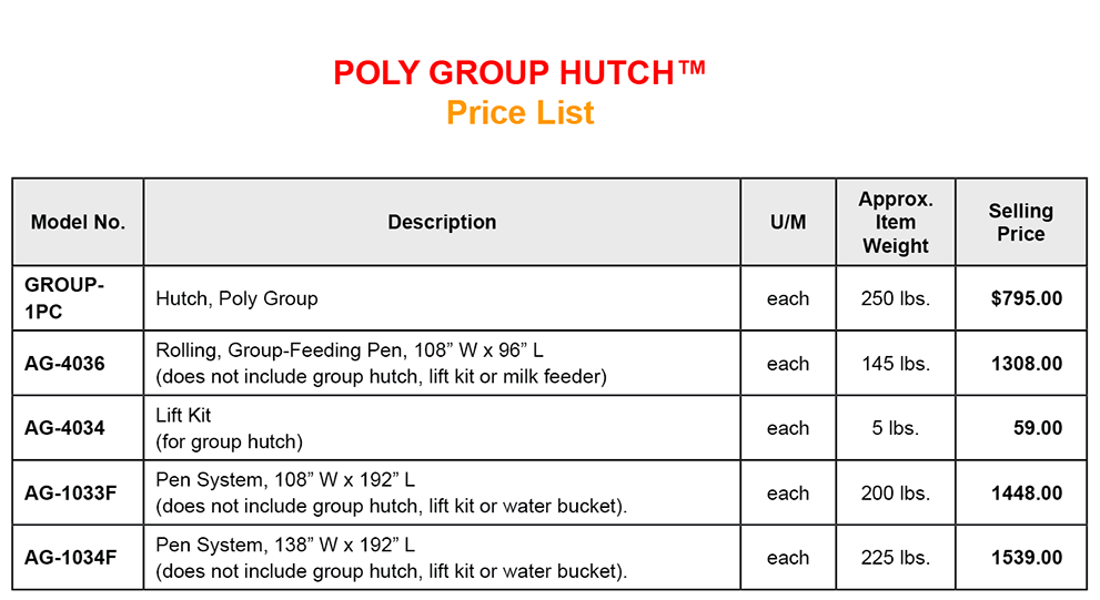 Poly Delue EXL Calf Hutch Pricelist