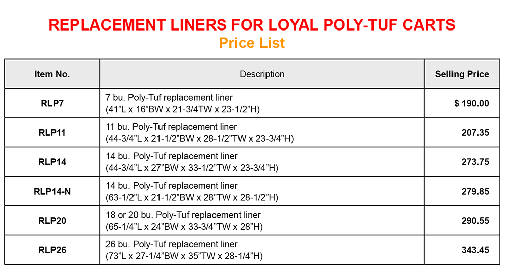 Poly Tuf Feed Cart Replacement Liner price list