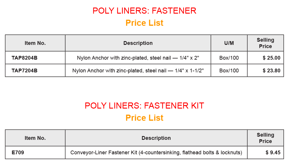 Poly Liner - Fasteners