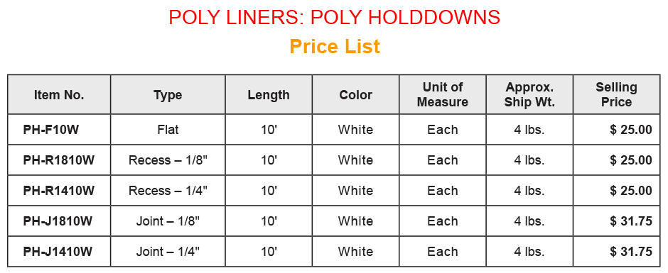 Poly Liner - Holddowns